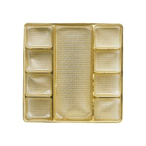 Tray, Square, Gold, 8 oz., 9 Cavity,  Mixed Shaped Cavities, QTY/CASE-50