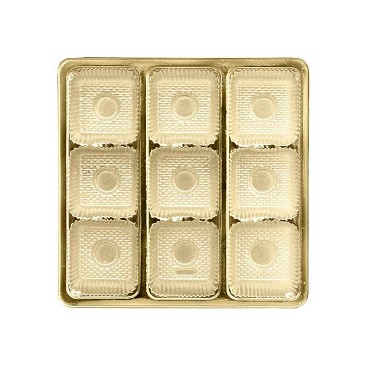 BY THE PIECE, Tray, Square, Gold, 8 oz., 9 Cavity, Square Cavities