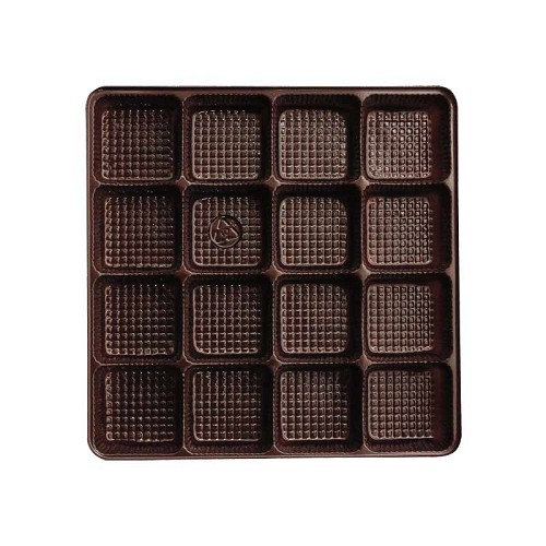 BY THE PIECE, Tray, Square, Brown, 8 oz., 16 Cavity, 5-1/2 x 5-1/2 x 1