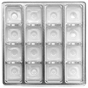 Tray, Square, Silver, 16 oz., 16 Cavity, QTY/CASE-50