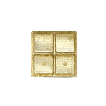 Tray, Square, Gold, 3 oz., 4 Cavity, QTY/CASE-50