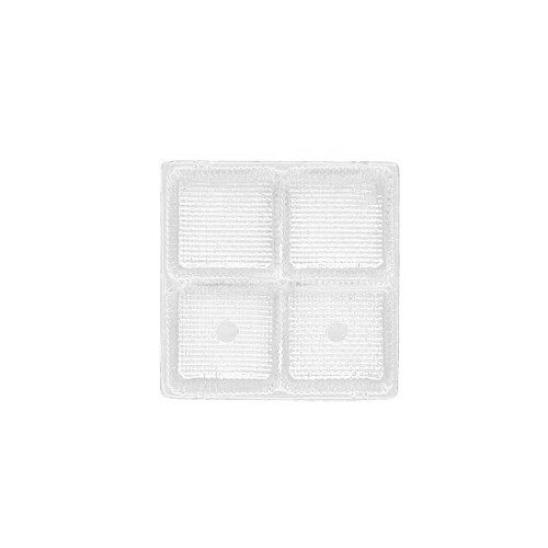 Tray, Square, Clear, 3 oz., 4 Cavity, 3-1/2 x 3-1/2 x 1
