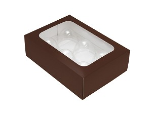 Folding Carton, Truffle Window Box, 6-Piece, Rectangle, Brown, QTY/CASE-50
