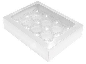 BY THE PIECE, Folding Carton, Truffle Window Box, 12-Piece, Rectangle, White