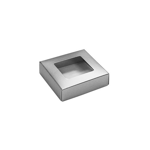 This Top - That Bottom, Window Lid, Square, Metallic Silver, 3-1/2 x 3-1/2 x 1