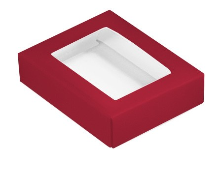 This Top - That Bottom, Window Lid, Rectangle, Red, 4-1/2 x 3-3/4 x 1