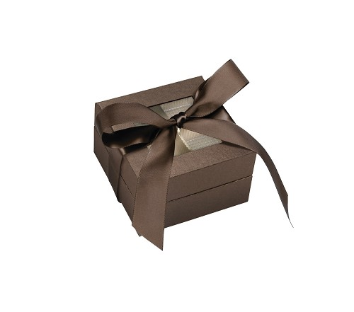 BY THE PIECE, Rigid Set-up Box, Window Box with Ribbon, Square, 3 oz., Deco Bronze