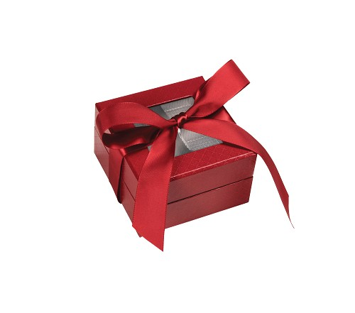 Rigid Set-up Box, Window Box with Ribbon and Riser, Square, 3 oz., 5th Ave Red, QTY/CASE-24
