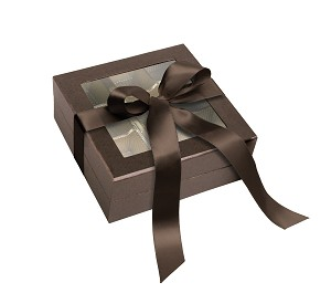 BY THE PIECE, Rigid Set-up Box, Window Box with Ribbon, Square, 8 oz., Deco Bronze
