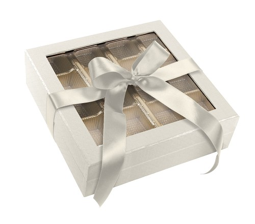 Rigid Set-up Box, Window Box with Ribbon and Riser, Square, 16 oz., Pearlescent, QTY/CASE-12
